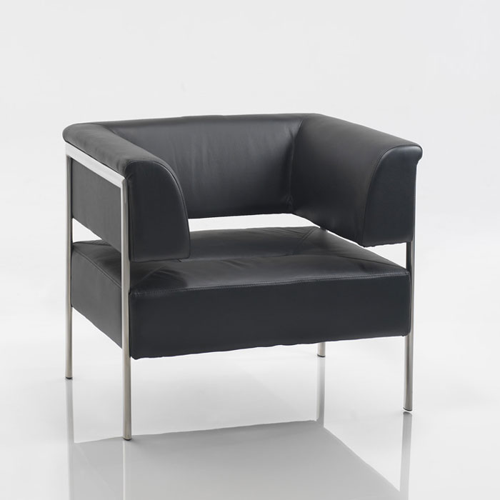 Contemporary Leather Reception Sofa Black And Chrome
